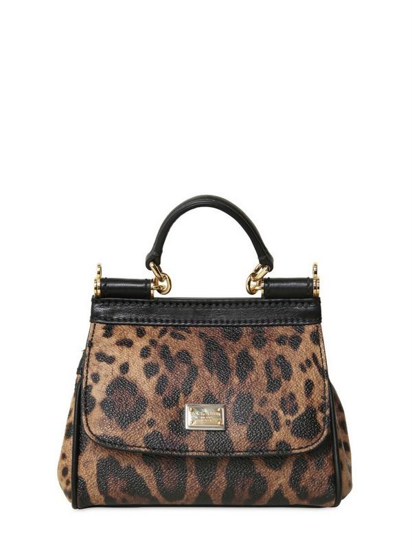 7af1cd317ad4 Lyst - Dolce   Gabbana Mini Miss Sicily Leopard Print PVC Bag in Brown