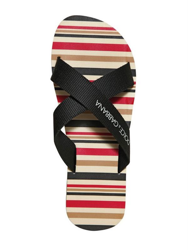 40328673f6006 Lyst - Dolce   Gabbana Pvc Striped Criss Cross Flip Flops in Black ...