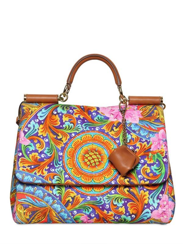 32d03be2c1 Lyst - Dolce   Gabbana Soft Miss Sicily Printed Canvas Bag