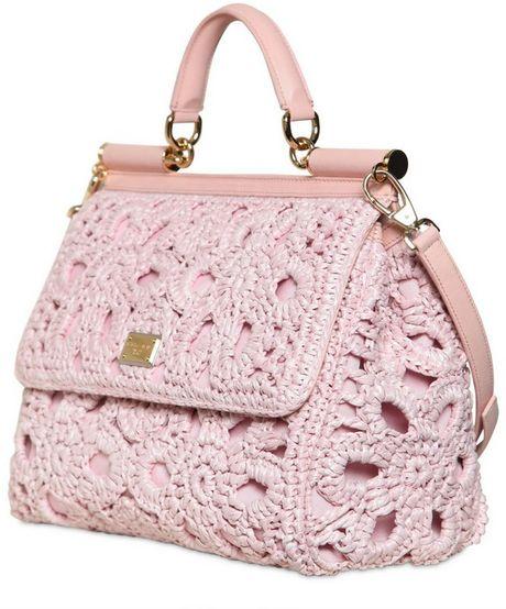 dolce gabbana miss sicily crochet raffia canvas bag in