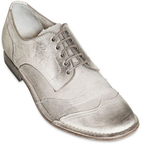 dolce gabbana canvas crinkled leather shoes in