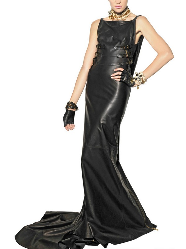 Dsquared² Zipped Nappa Leather Long Dress in Black - Lyst