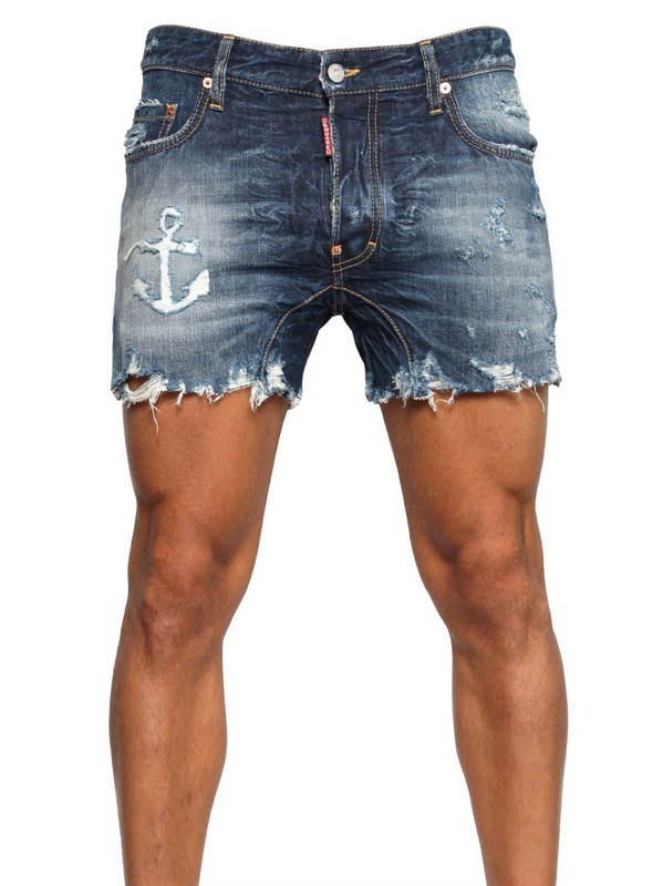 Dsquared² Anchor Distressed Denim Shorts in Blue for Men | Lyst