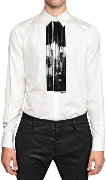 Dsquared patent leather plastron cotton shirt in white for Mens white leather shirt