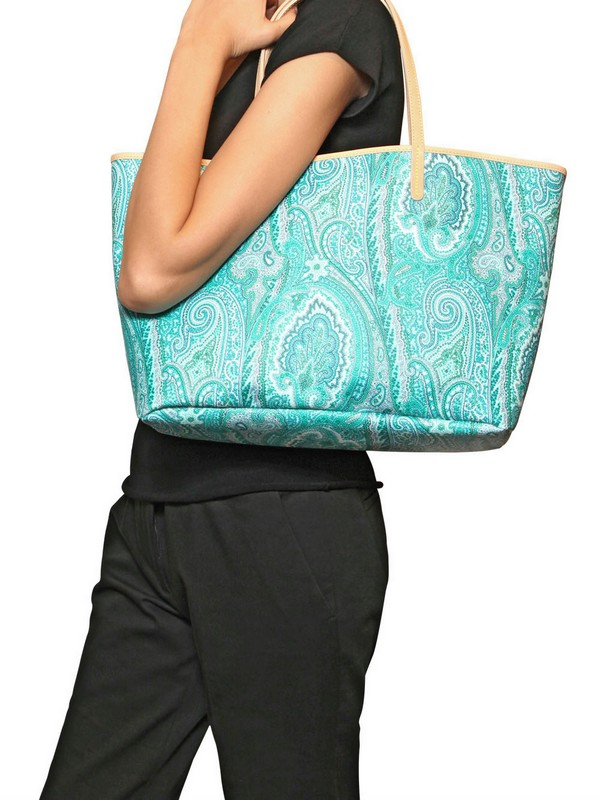 low priced 14d85 e8a24 Etro Blue Shopping Color Paisley Printed Pvc Tote