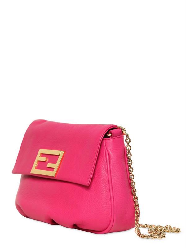 Fendi The Fendista Leather Shoulder Bag In Fuchsia Pink