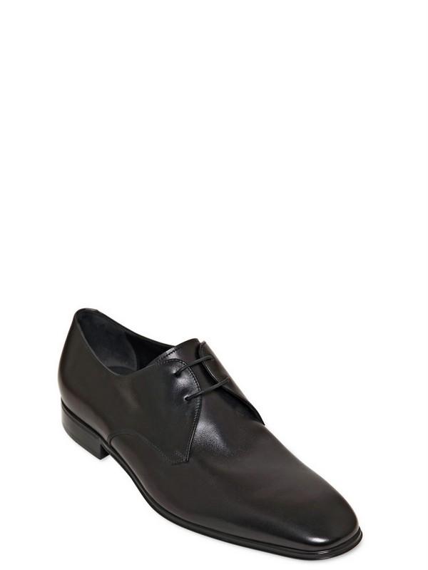Ferragamo Fabulous Rain Lux Leather Derby Shoes In Black