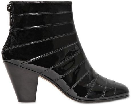gareth pugh 50mm cuban heel patent leather boots in black