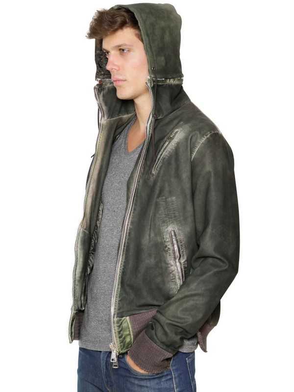 Lyst Giorgio Brato Reversible Dyed Hooded Leather Jacket