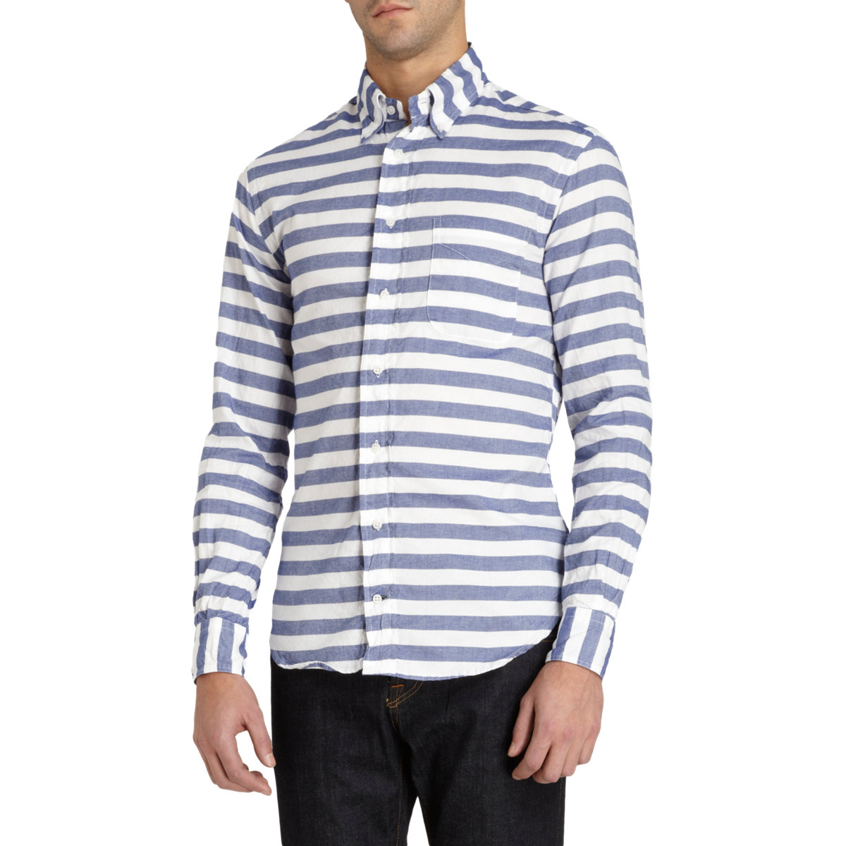 Gitman Brothers Vintage Striped Button Collar Shirt In