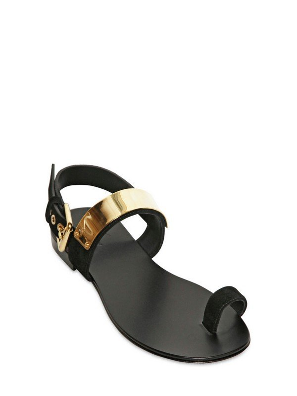 66845ed0b8e0 Lyst - Giuseppe Zanotti Velour and Gold Plaque Thong Sandals in ...