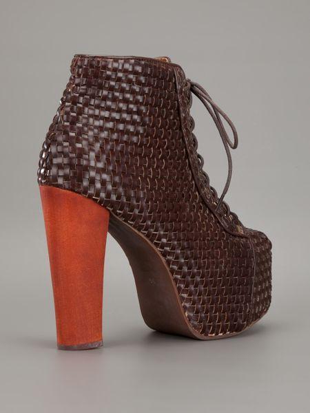 jeffrey cbell lita woven platform boot in brown lyst