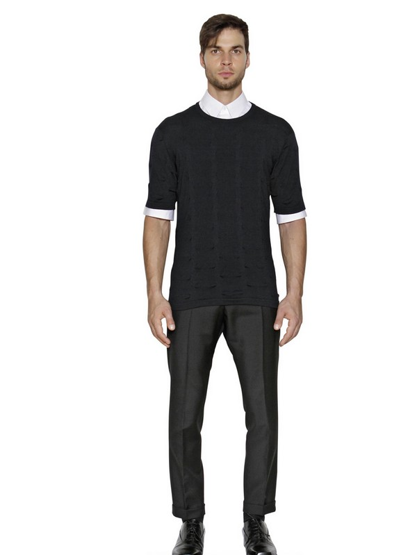Jil Sander Wool and Mohair Blend Trousers in Black for Men