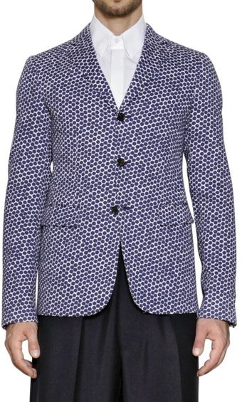 Jil Sander Hexagon Print Cotton Gabardine Jacket - Lyst