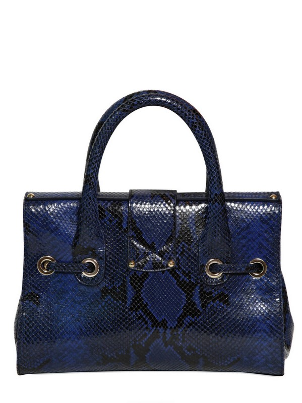 6c7f34403bc0 Lyst - Jimmy Choo Small Rosalie Snake Print Leather Bag in Blue