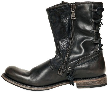 John Varvatos 20mm Lace Up Leather Pirate Boots In Black