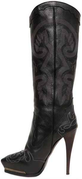Lanvin 130mm Embroidered Leather Boots In Black Lyst
