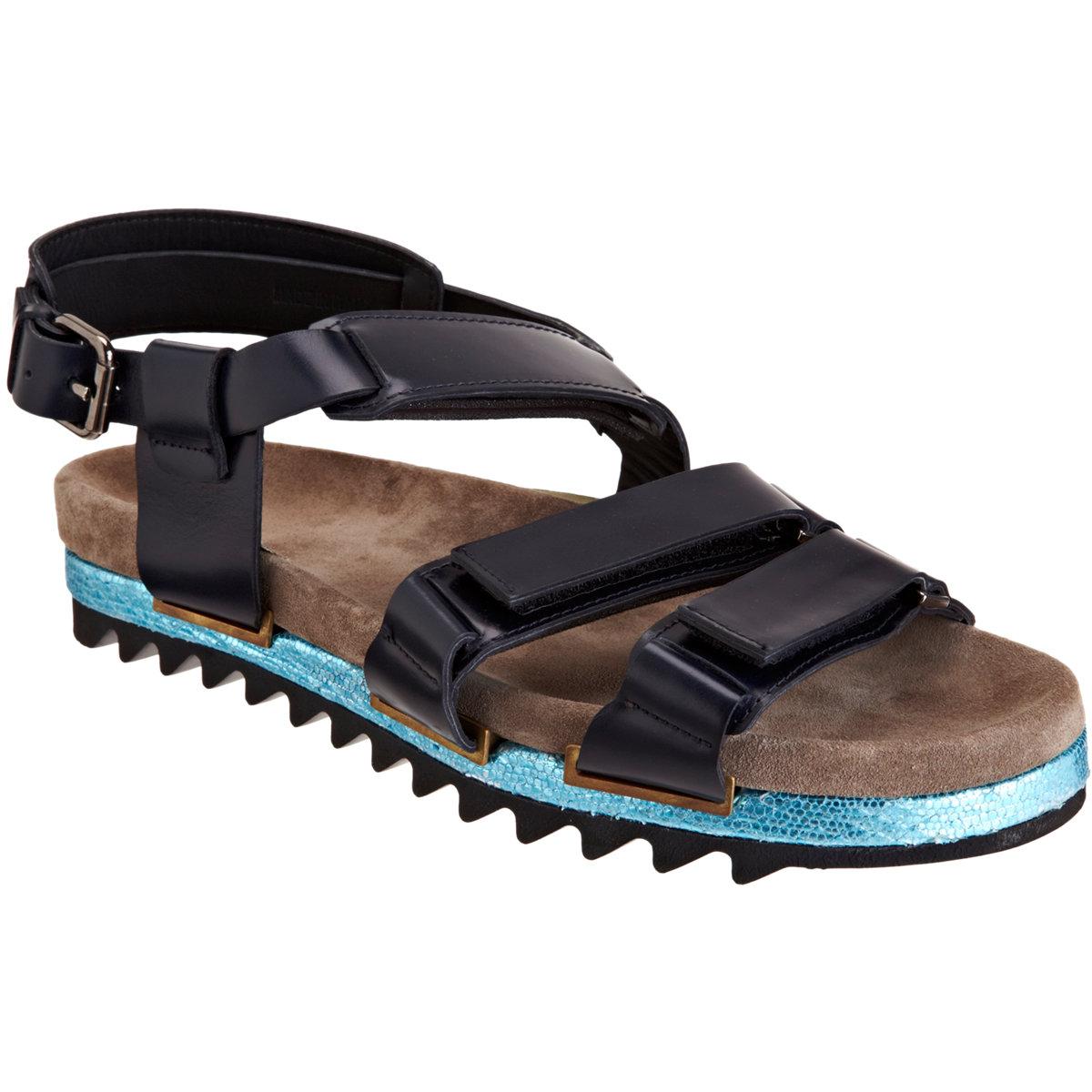 Lanvin Triple Strap Sandal In Blue For Men Lyst