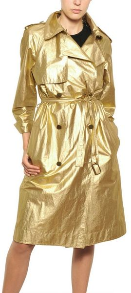 Lanvin Washed Laminated Cotton Canvas Trench in Gold