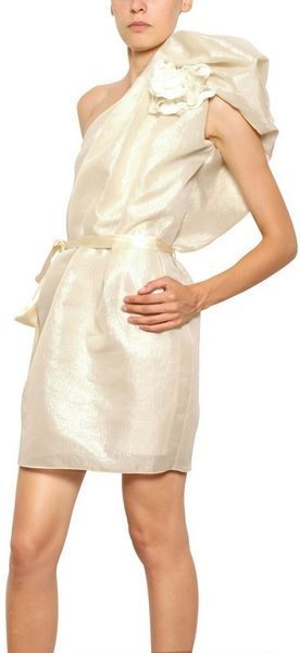 Lanvin Laminated Silk Gauze One Shoulder Dress in Gold (ivory) - Lyst