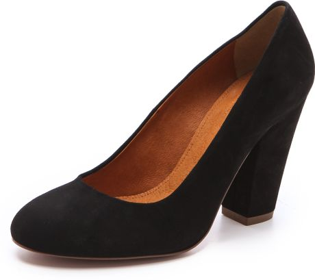 madewell suede round toe pumps in black  lyst