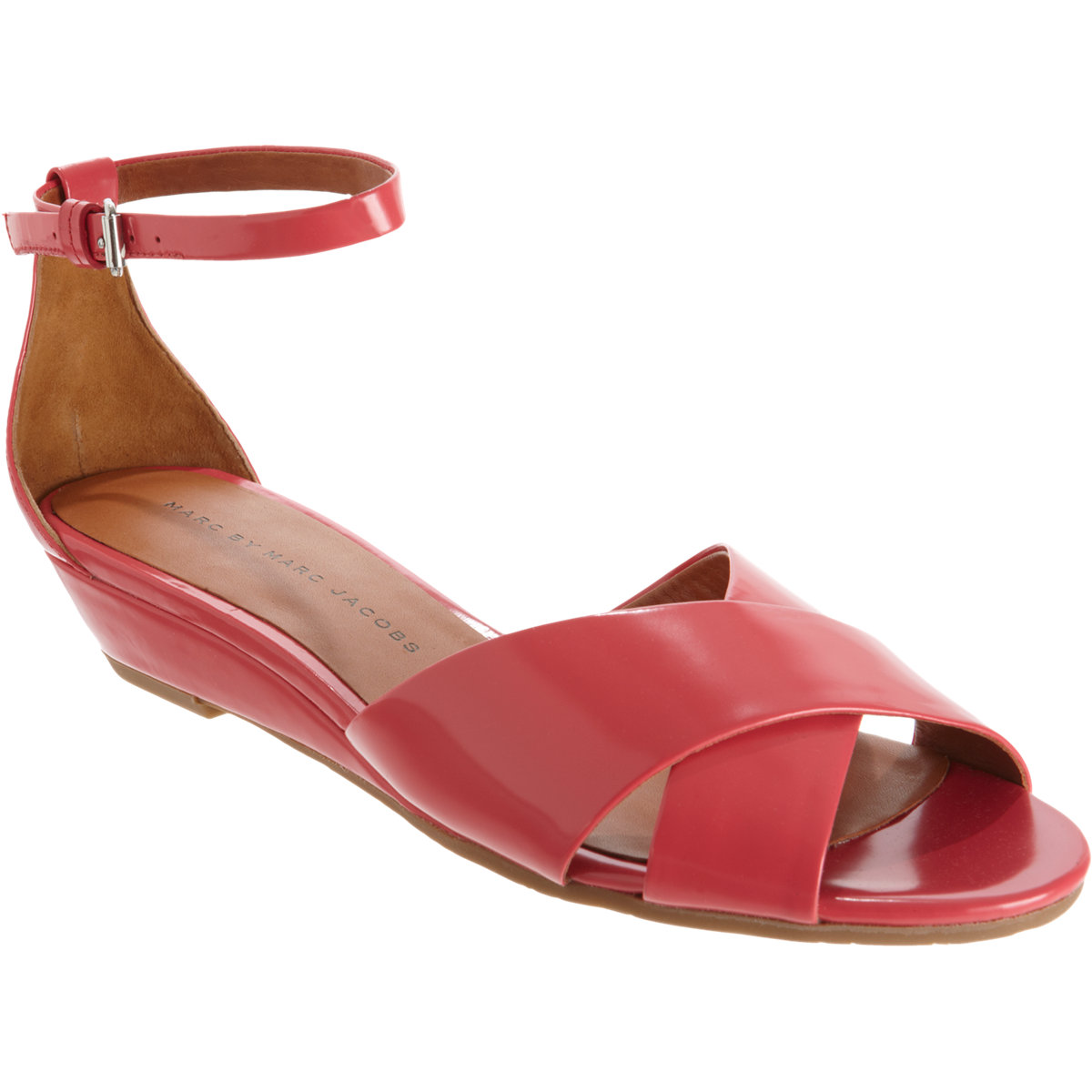 Marc By Marc Jacobs Crisscross Wedge Sandal In Red Coral