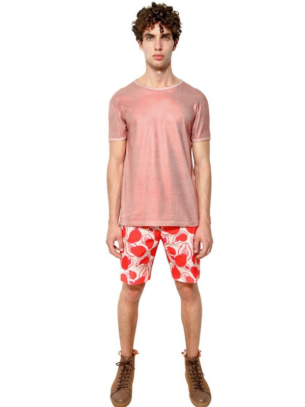 Marc Jacobs Shiny Metallic Print Jersey Tshirt in Pink for Men