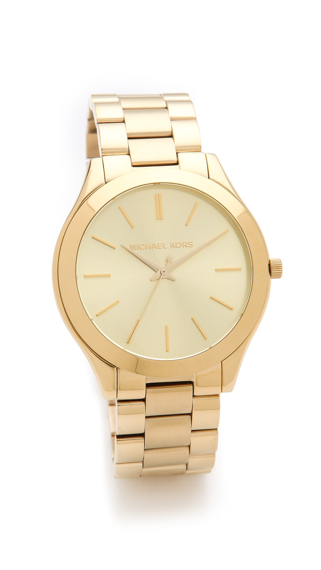 lyst michael kors slim runway watch in metallic