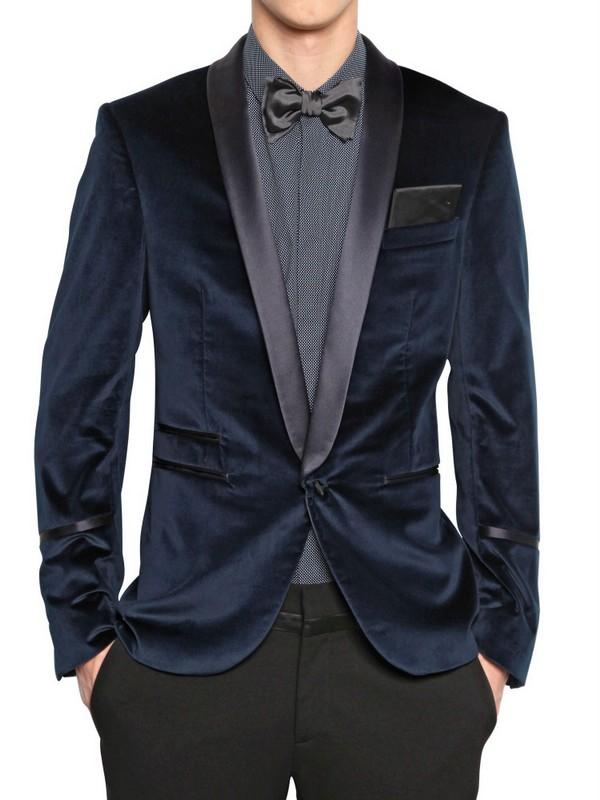 Neil barrett stretch velvet tuxedo jacket in blue for men for Neil barrett tuxedo shirt