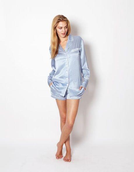 olivia von halle alba alice silk pyjamas in blue sky lyst. Black Bedroom Furniture Sets. Home Design Ideas