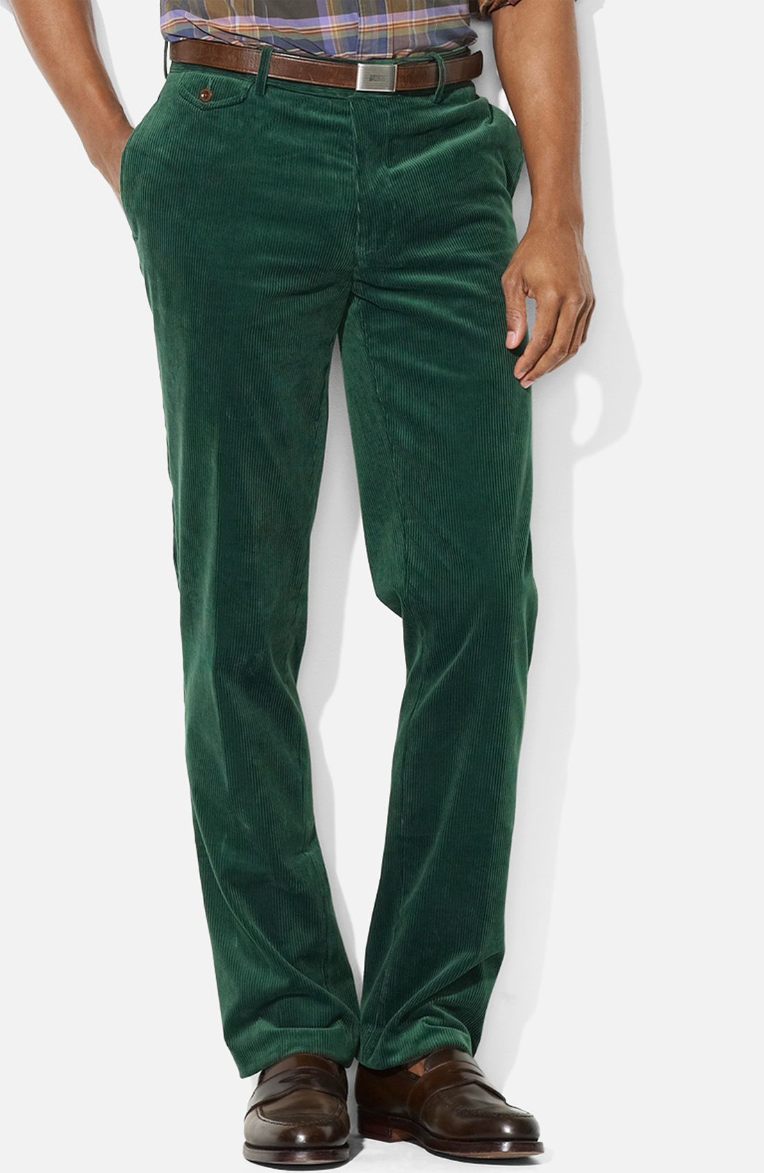 Polo ralph lauren Preston Flat Front Corduroy Pants in Green for ...