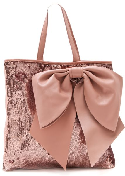 Red Valentino Paillettes Bow Tote in Pink