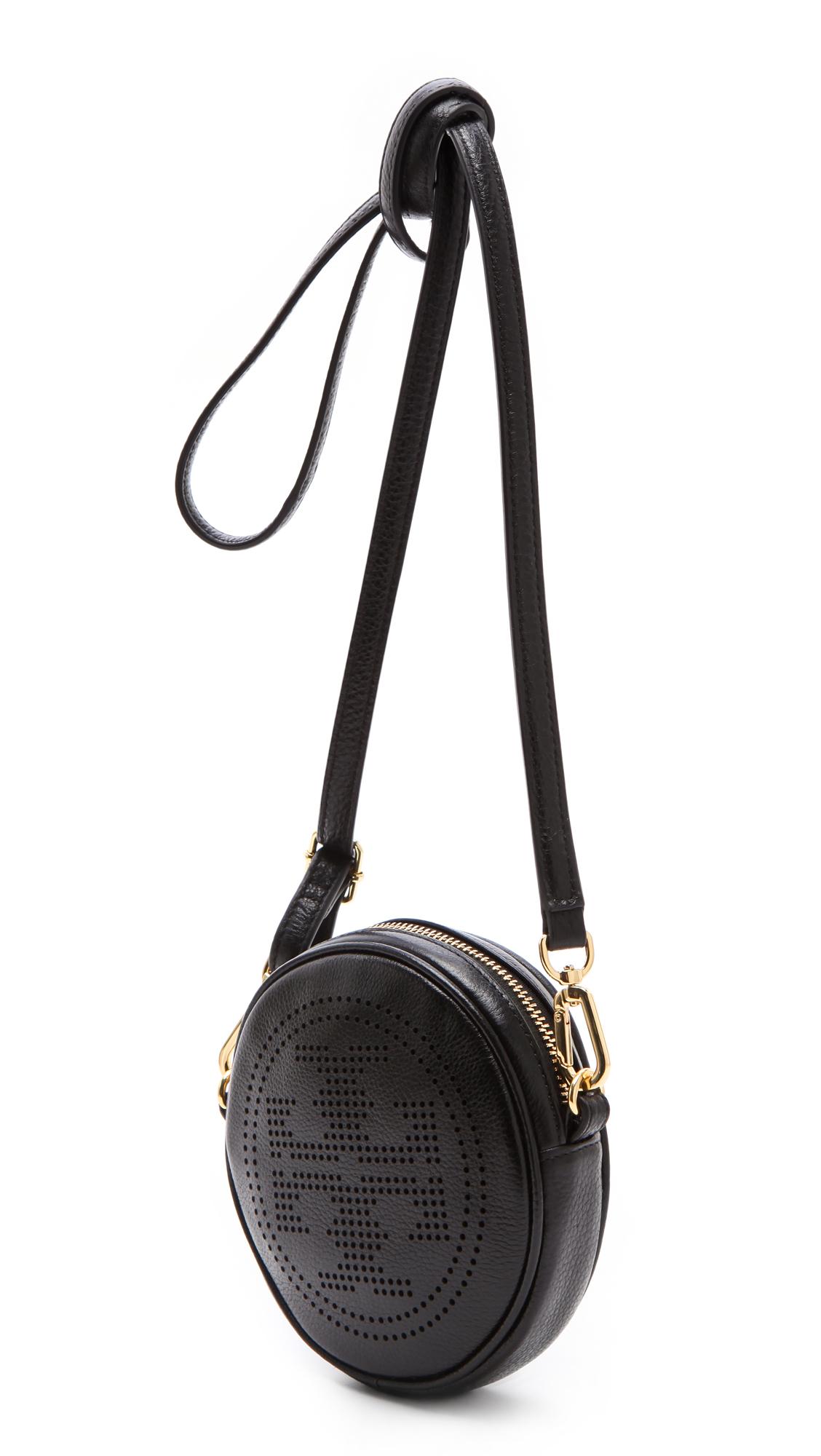 99a7cc5d0a75 Lyst - Tory Burch Perforated Logo Cross Body Bag in Black