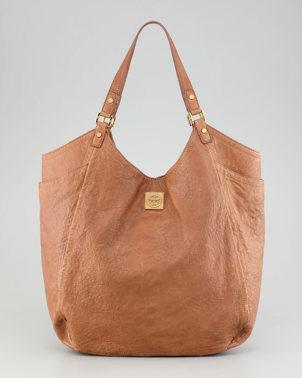 lyst tory burch louisa slouchy tote bag original in brown. Black Bedroom Furniture Sets. Home Design Ideas