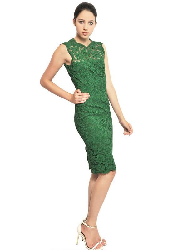 Valentino Cotton Viscose Lace Dress In Green Lyst