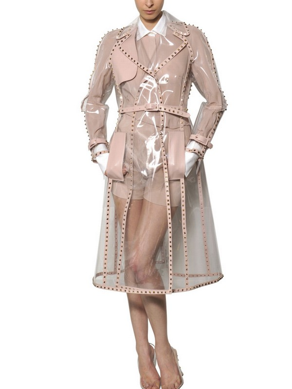 Valentino Studded Leather Trim Pvc Trench Coat Lyst