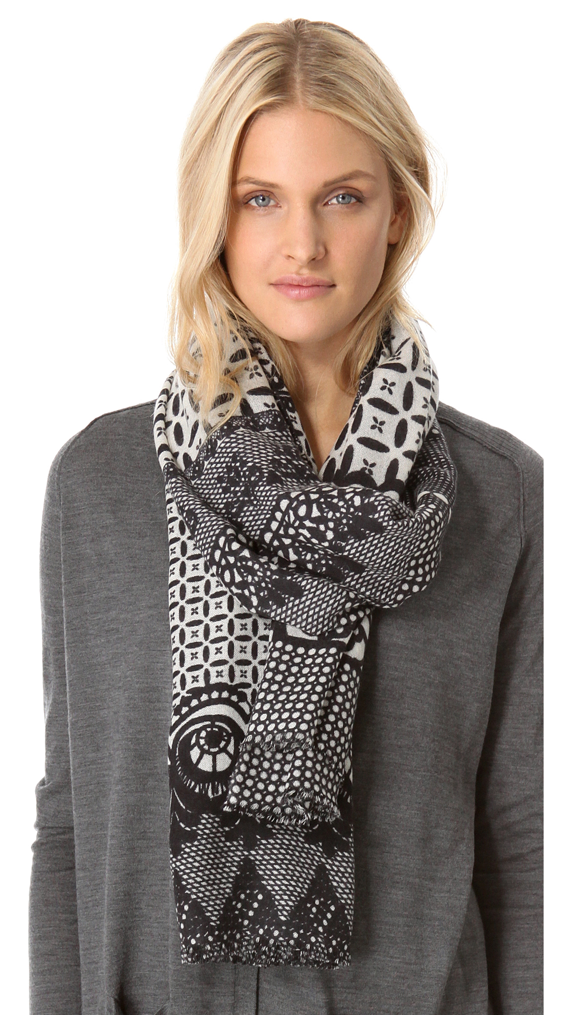 yarnz neo lace scarf in gray black lyst