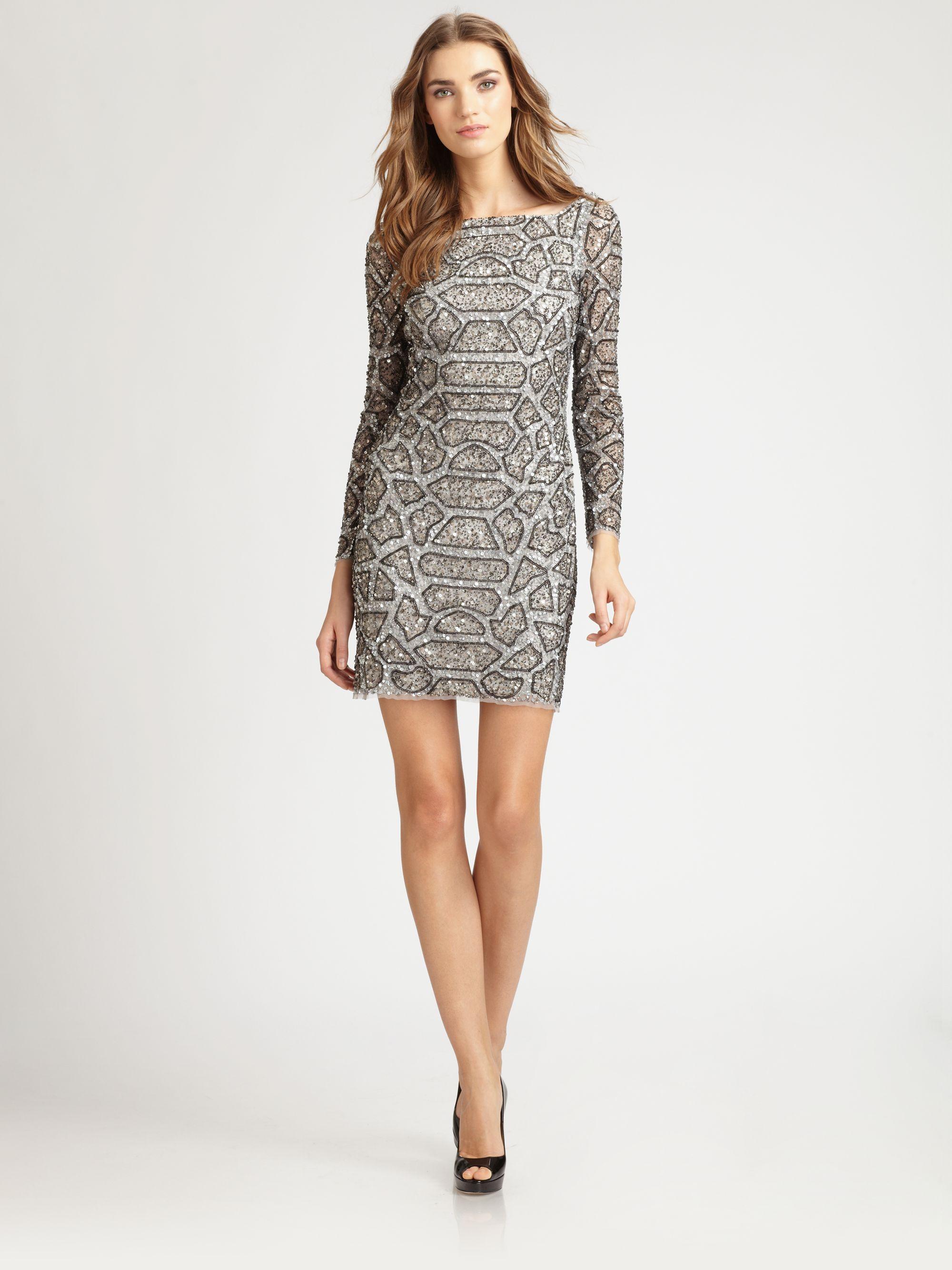 aidan mattox beaded dress in silver lyst