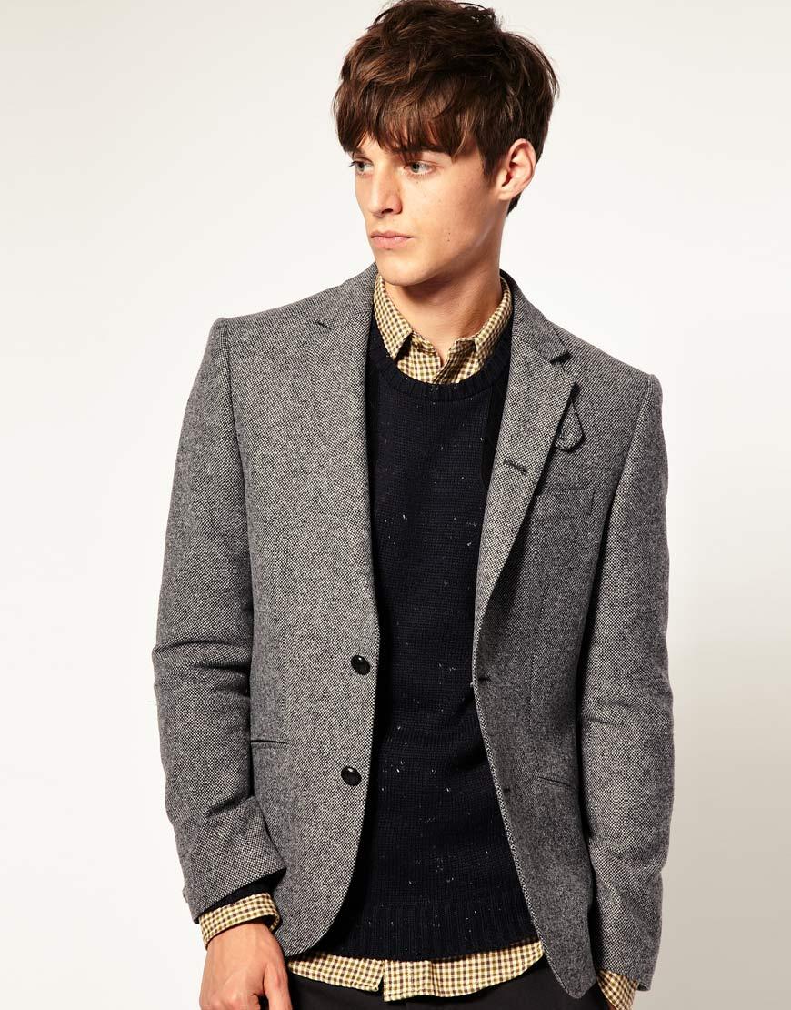 asos asos slim fit tweed blazer in grey in gray for men lyst. Black Bedroom Furniture Sets. Home Design Ideas