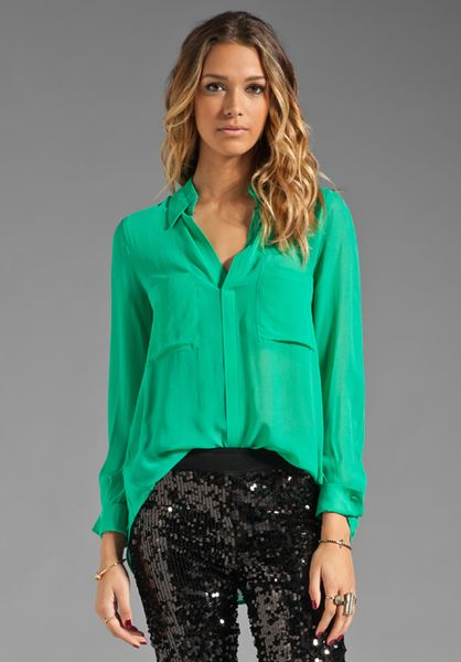 Bcbgmaxazria Button Down Pocket Blouse in Green (emerald)
