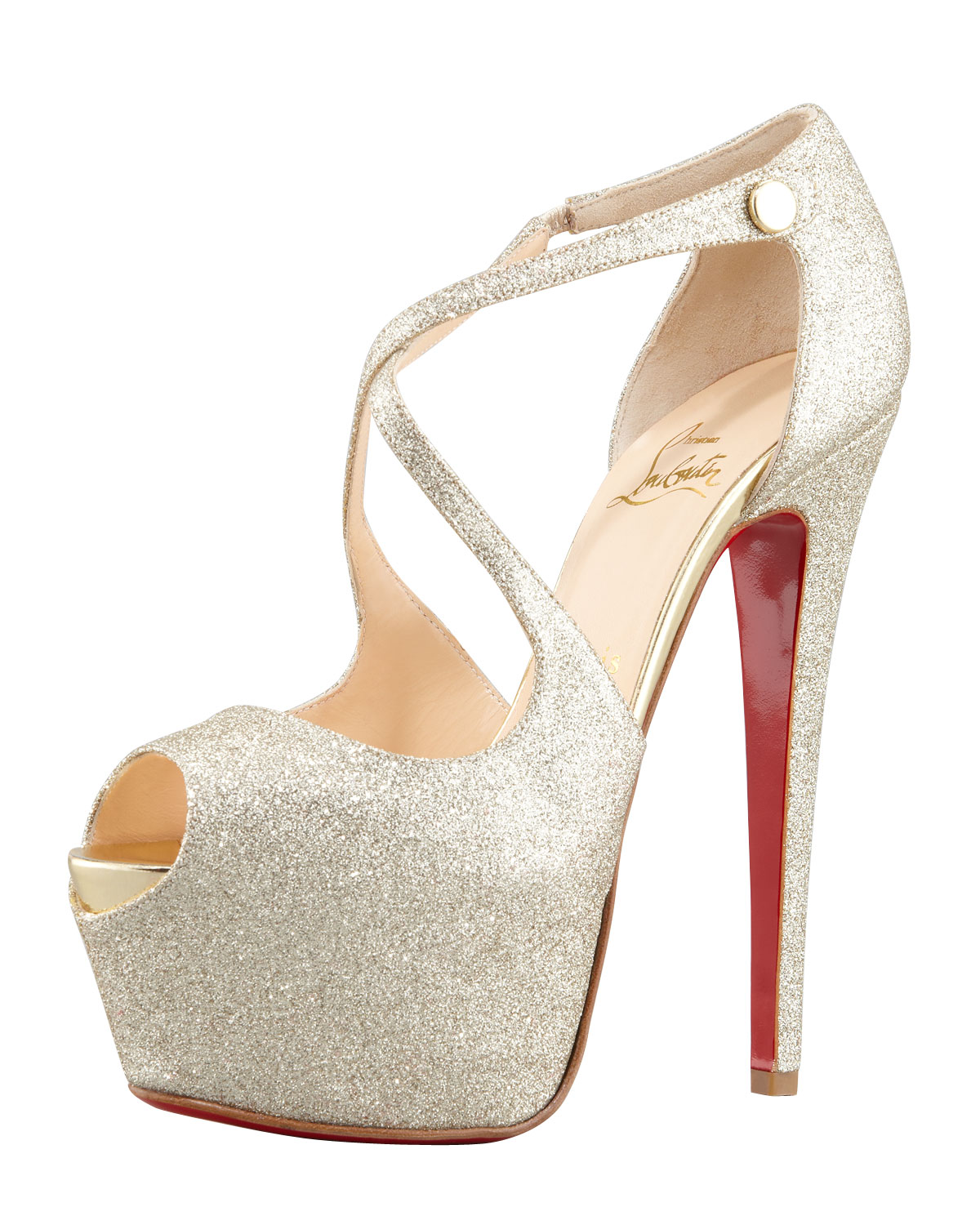 christian louboutin gold glitter pumps - Bavilon Salon