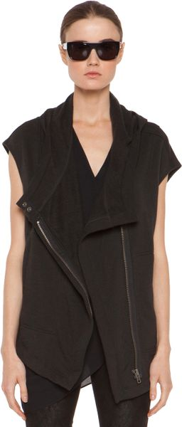 Helmut Lang  Soft Sweatshirt Hood Vest  in Black