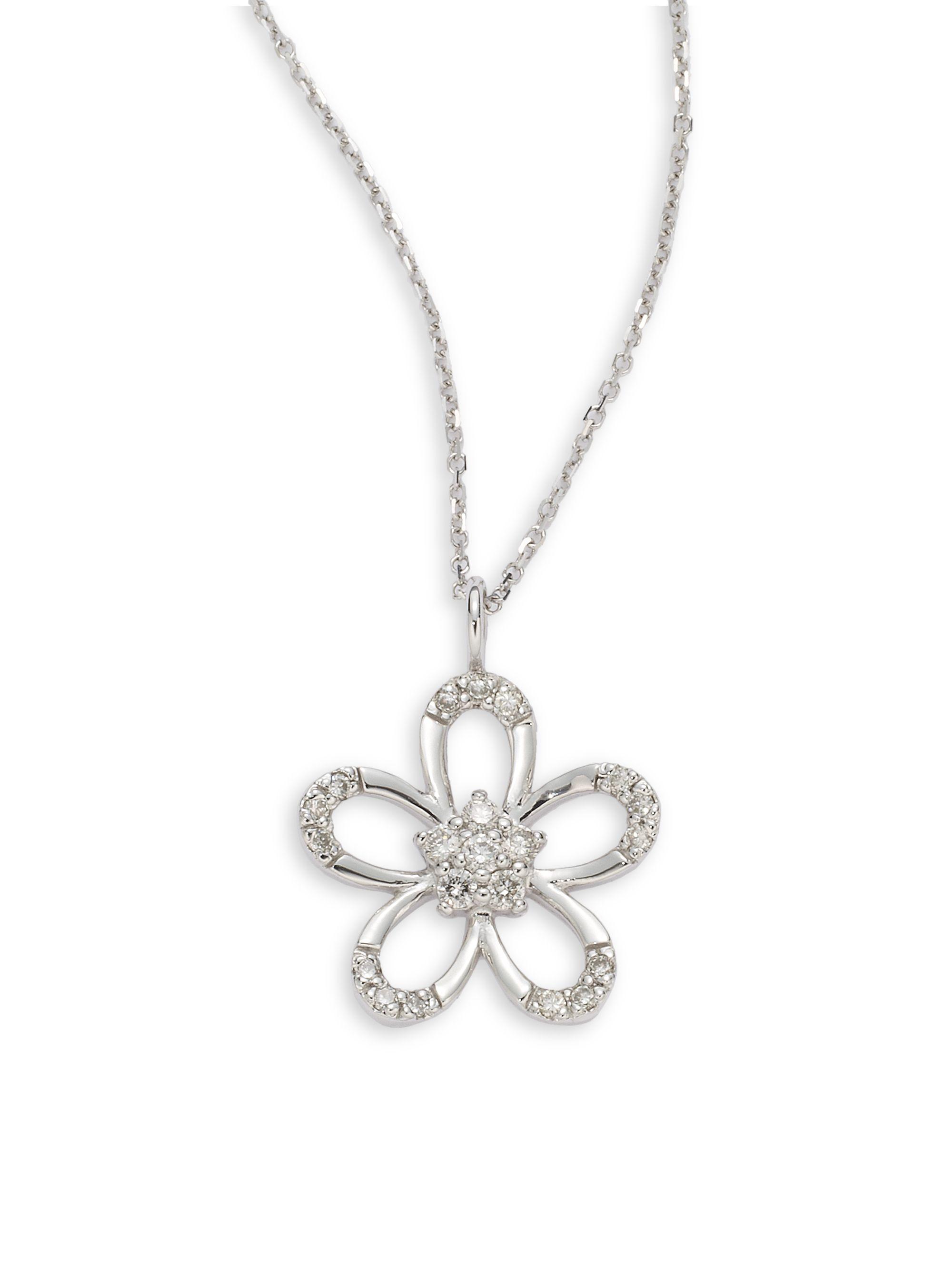 Kc Designs Diamond Open Flower Pendant Necklace In Silver
