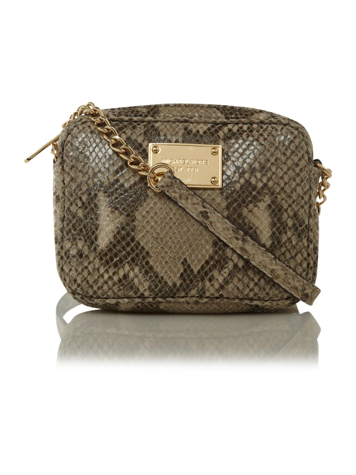 bcd1a480e ... order lyst michael kors mini jet set snake crossbody bag in brown 5c890  3b1d0