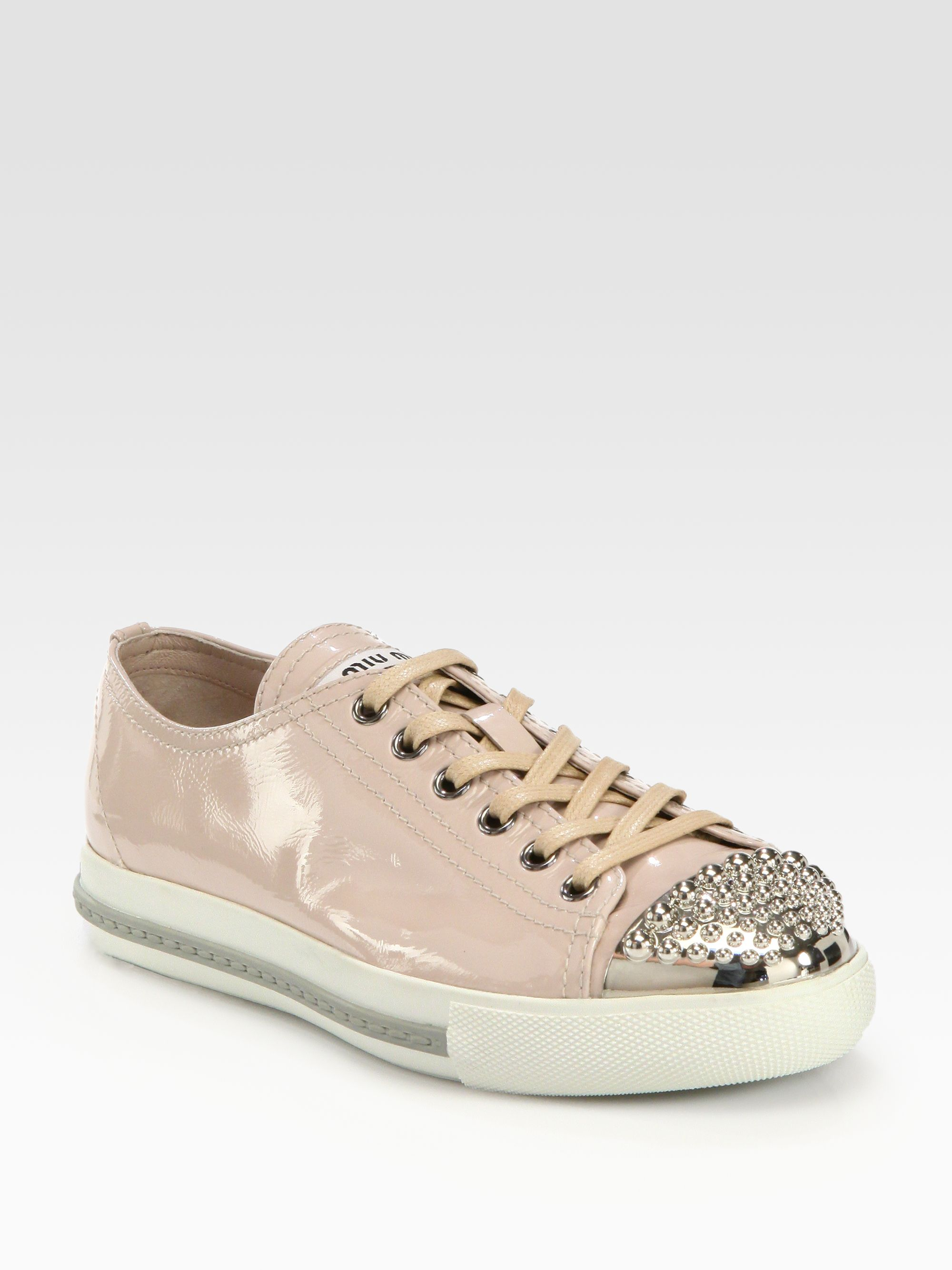 miu miu studded patent leather laceup sneakers in pink lyst. Black Bedroom Furniture Sets. Home Design Ideas