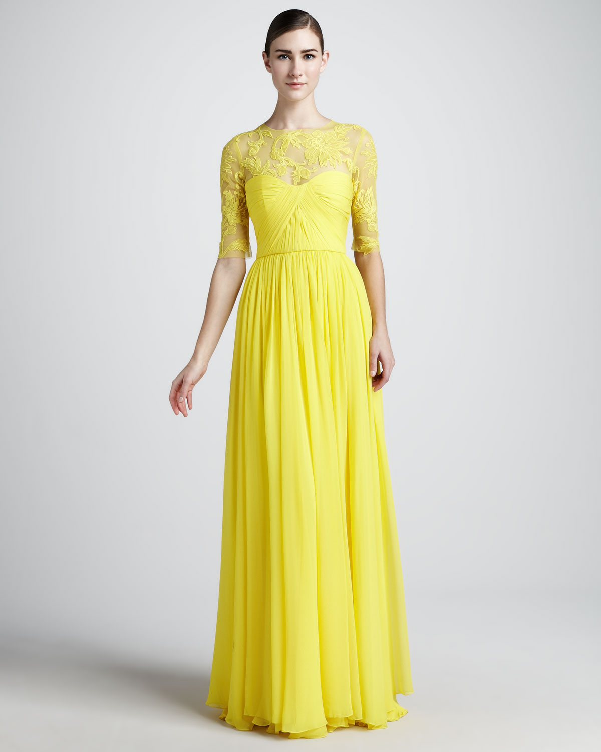 Yellow Wedding Gowns: Monique Lhuillier Laceneck Gown In Yellow