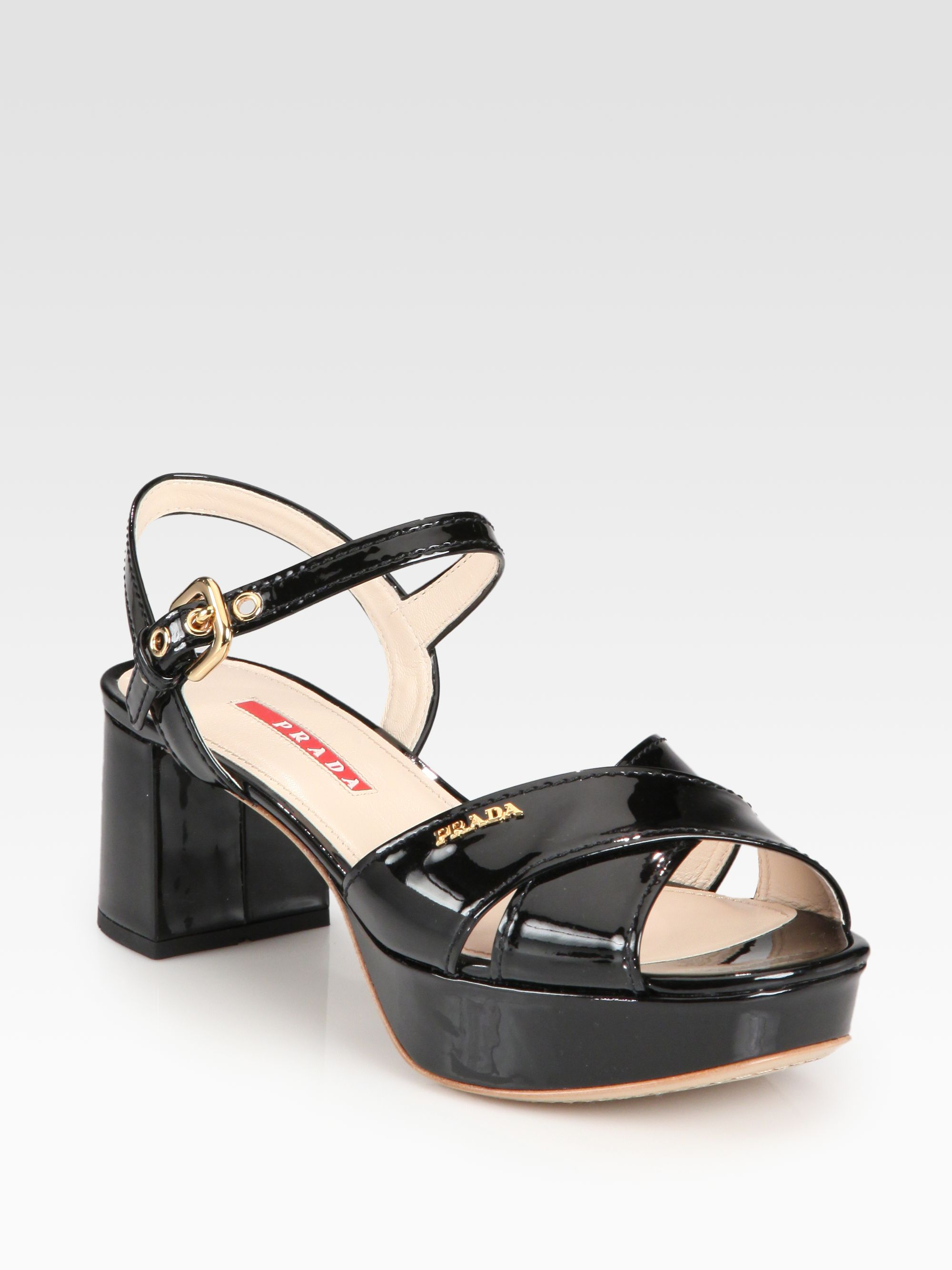 cced350d347 Black Prada Sandals. Prada Patent Leather Crisscross Platform Sandals in  Black