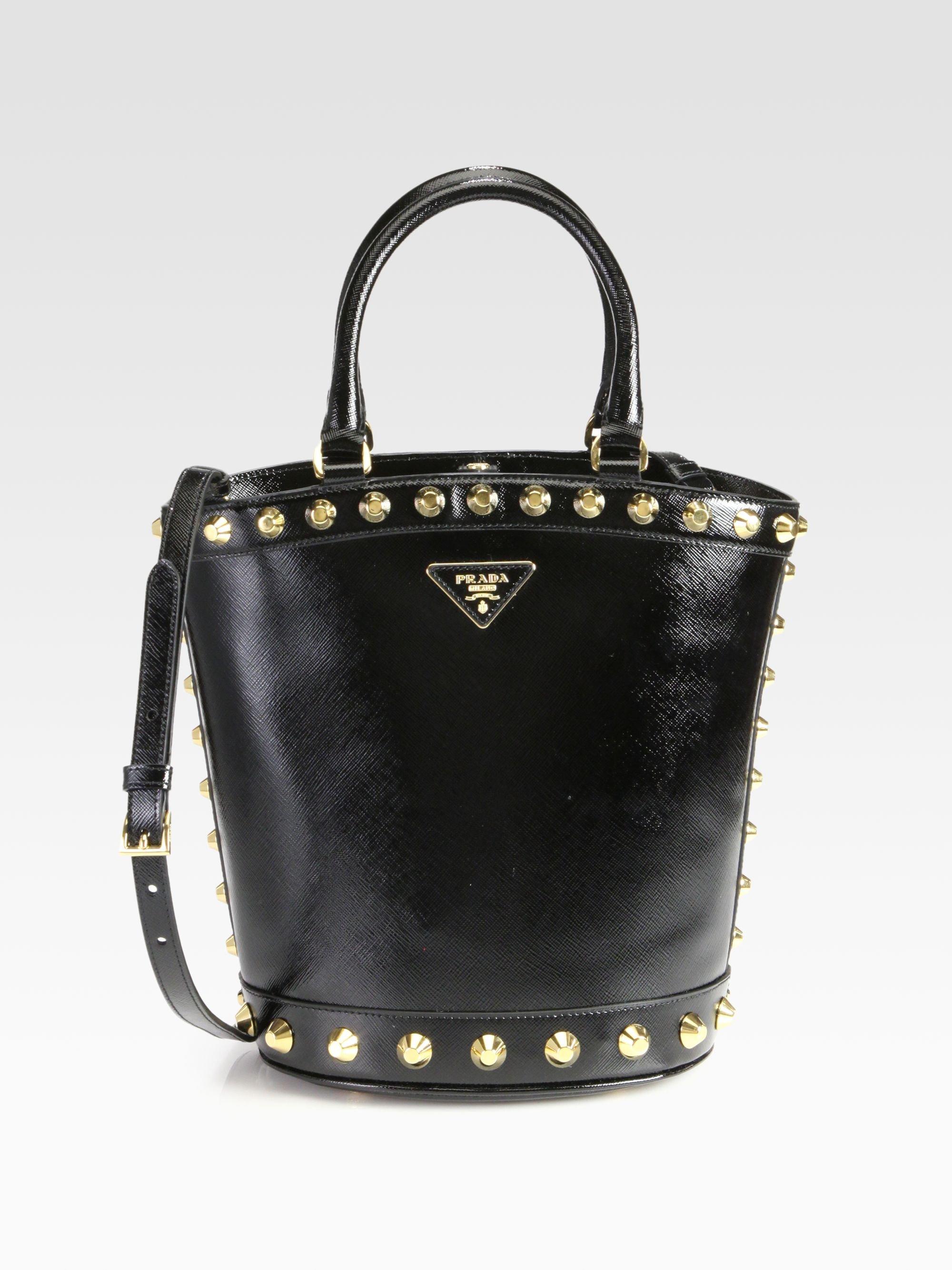 Prada Saffiano Vernice Studded Bucket Bag in Black   Lyst