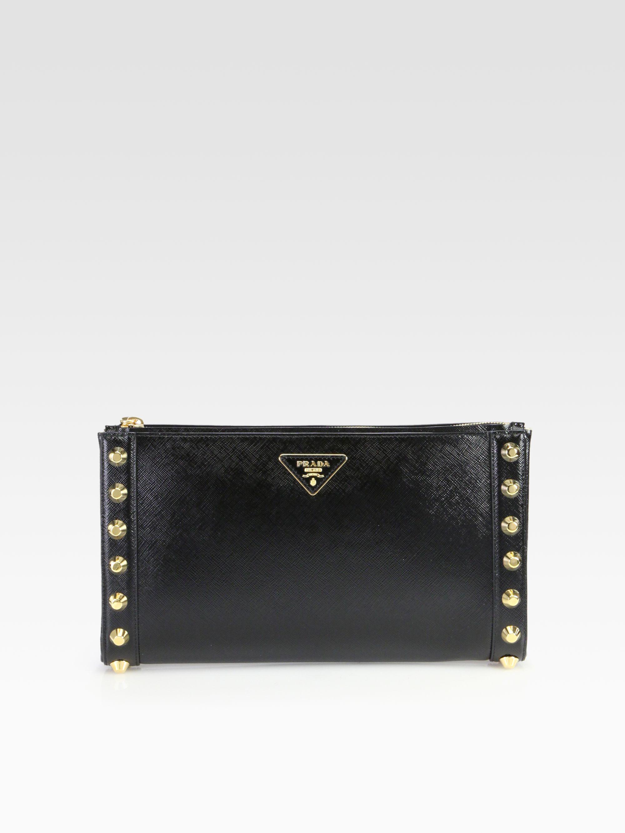 Prada Saffiano Vernice Studded Clutch in Black | Lyst