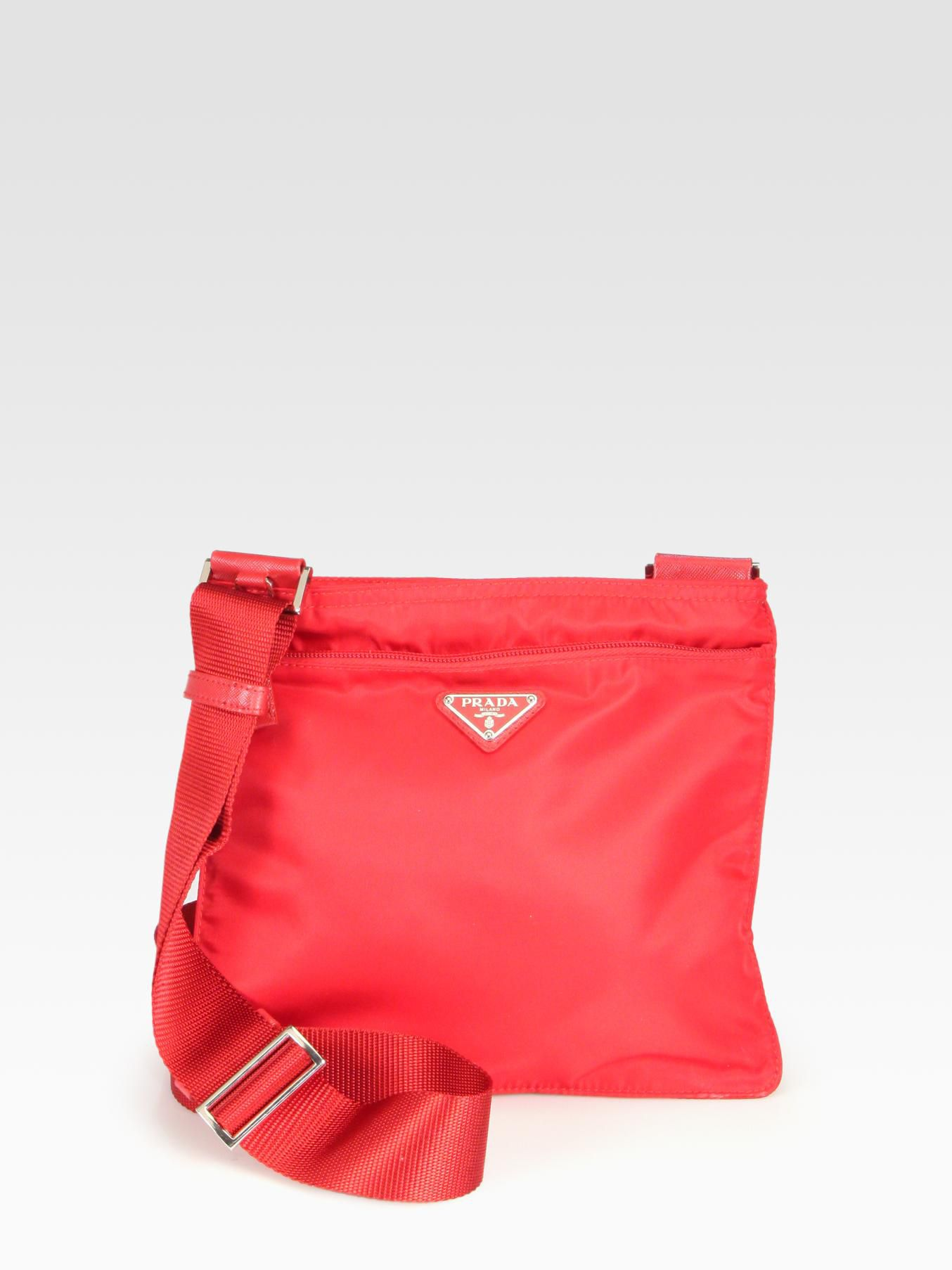 60331d356731 ... greece lyst prada nylon messenger bag in red 7c69b 05cff